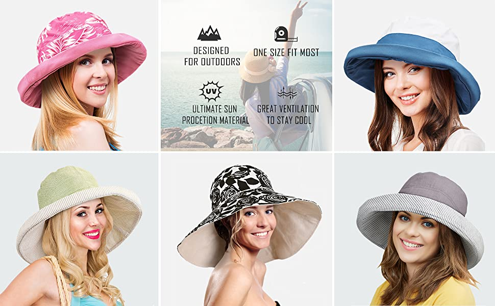 d6a824ab Wide Brim UPF 50+ Sun Hat Safari W/ Floral Ribbon 5 Colors · Women's Bucket  Hat Multiple Styles · Long Back Flap Fishing Hat · Adjustable Neck Cover Cap  ...