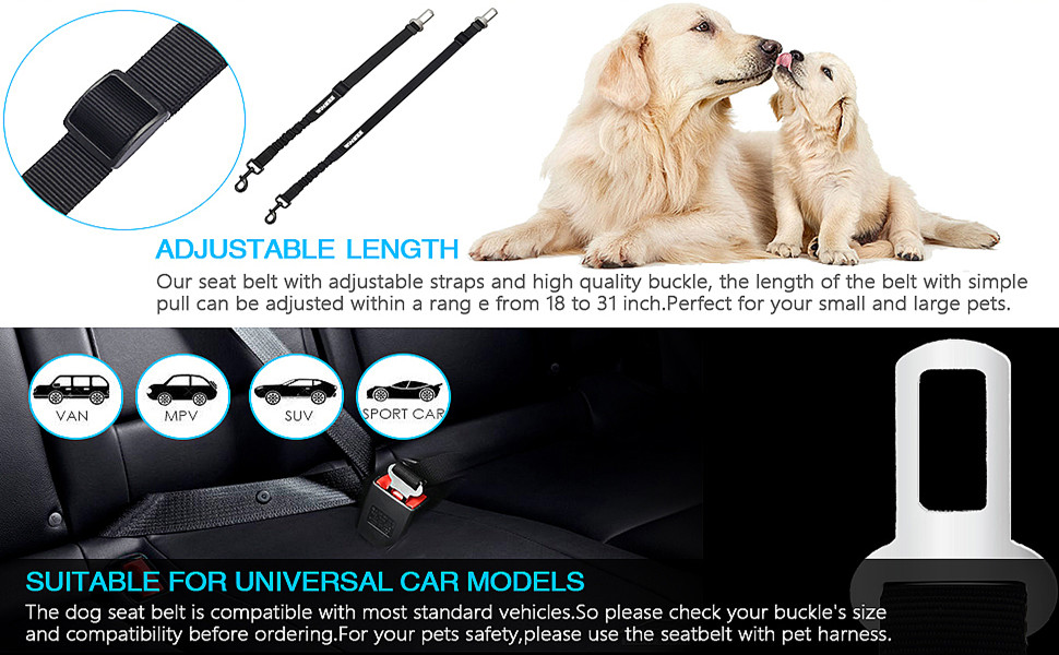 2 X Dogs car seat belt adjustable with elastic bungee buffer to prevent your pet from shock attenuation fits almost All Car Seatbelt Latch Green//Black