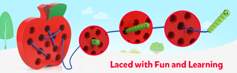 Lacing toys lace up toys lace game toy threading toy lacing apple laces apple wood lace up kid game