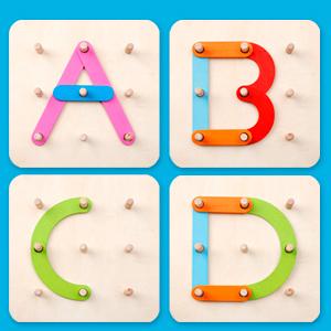kizh wooden letter number board wood alphabet block stack sorter construction set pegboard