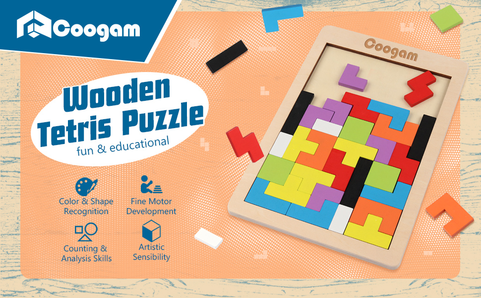 Coogam Wooden Tetris Puzzle Brain Teasers Toy Tangram Jigsaw Intelligence Puzzle