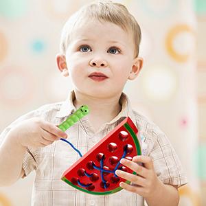Coogam Wooden Watermelon Threading Toys