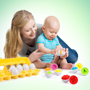 Matching Eggs 12 pcs Set Color & Shape Recoginition Sorter Puzzle for Easter Travel Game