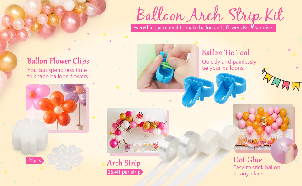 Balloon Decorating Strip Kit for Arch Garland Balloon Tape Strip Tying Tool Dot Glue Flower Clip for