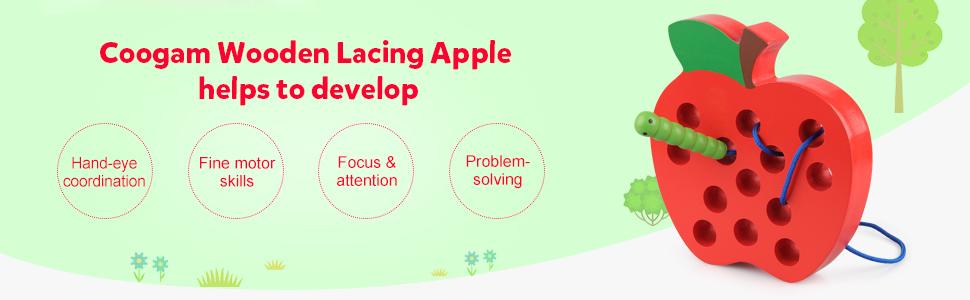 threading toy lacing apple laces apple wood lace up kids game Montessori toys travel games