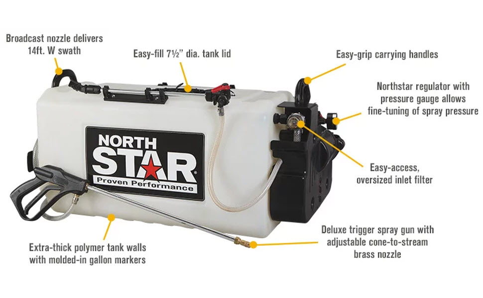 Details about  /NorthStar Boomless Broadcast and Spot Sprayer 26-Gallon Cap 2.2 GPM 12 Volts