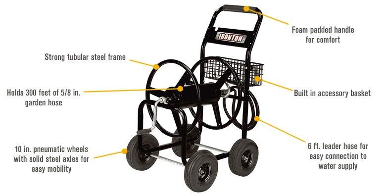 Ironton Garden Hose Reel Cart Holds 5/8in. X 300ft. Hose