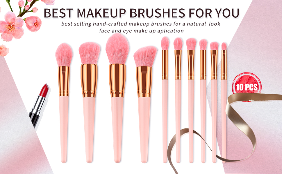 Makeup Brushes, ITME Premium Professional Makeup Brush Set,10PCS Synthetic  Makeup Brushes For Foundation Blending Blush Powder Blush Concealers Eye