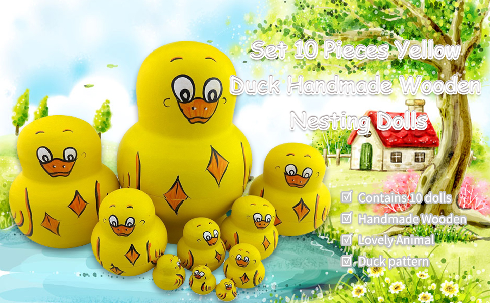 Yellow Duck 10 Pieces Cutie Lovely Adorable Animal Theme Nesting Dolls Matryoshka Russian Doll Handmade Wishing Doll Kids Girl Gifts Toy