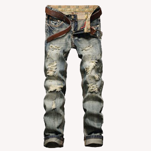 YTD Men`s Zipper Biker Jeans Ripped Distressed Slit Denim Slim Stretch Moto Pants