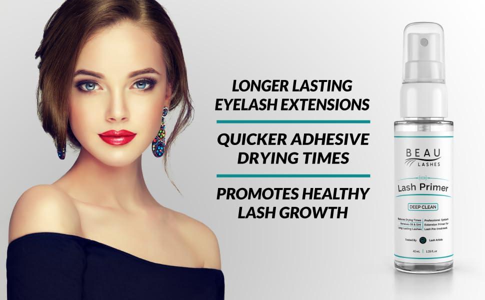 Beau Lashes Eyelash Extension Lash Primer Bottle With Model