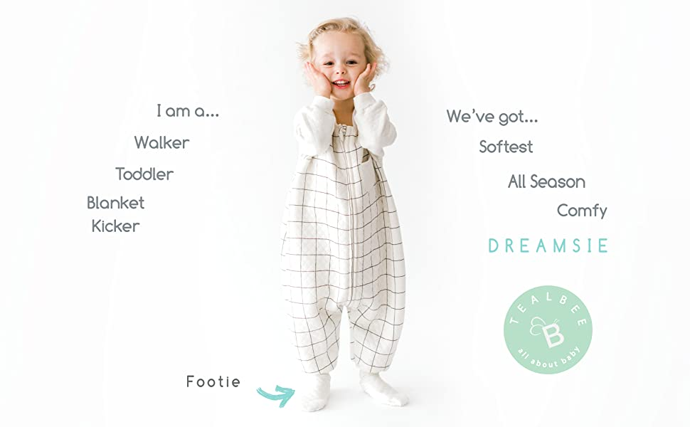 0.8 TOG Sleeping Sack with Feet and Sleeves keeps Toddlers Babies Warm during Sleep from Spring to Winter TEALBEE DREAMSIE: Toddler and Early Walker Baby Sleepsuit 12m-2t, Large Wearable Blanket