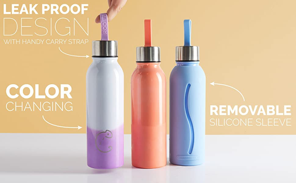 reusable color changing stainless steel metal water bottle hydration