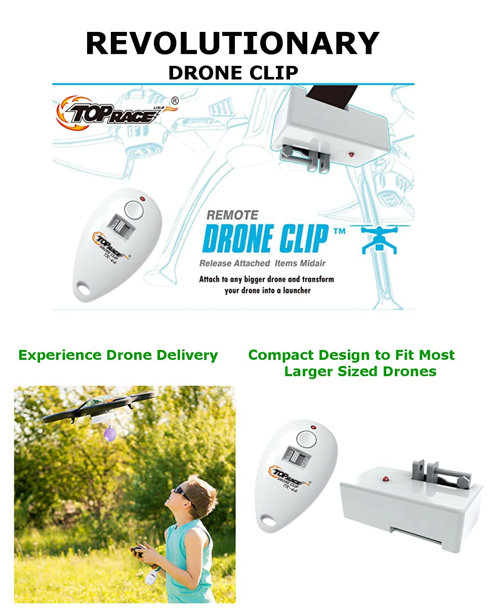 Top Race Drone Clip Remote Control Object Launcher Release and Drop Drone Delivery Holds Up to 7oz PATENTED TR-66