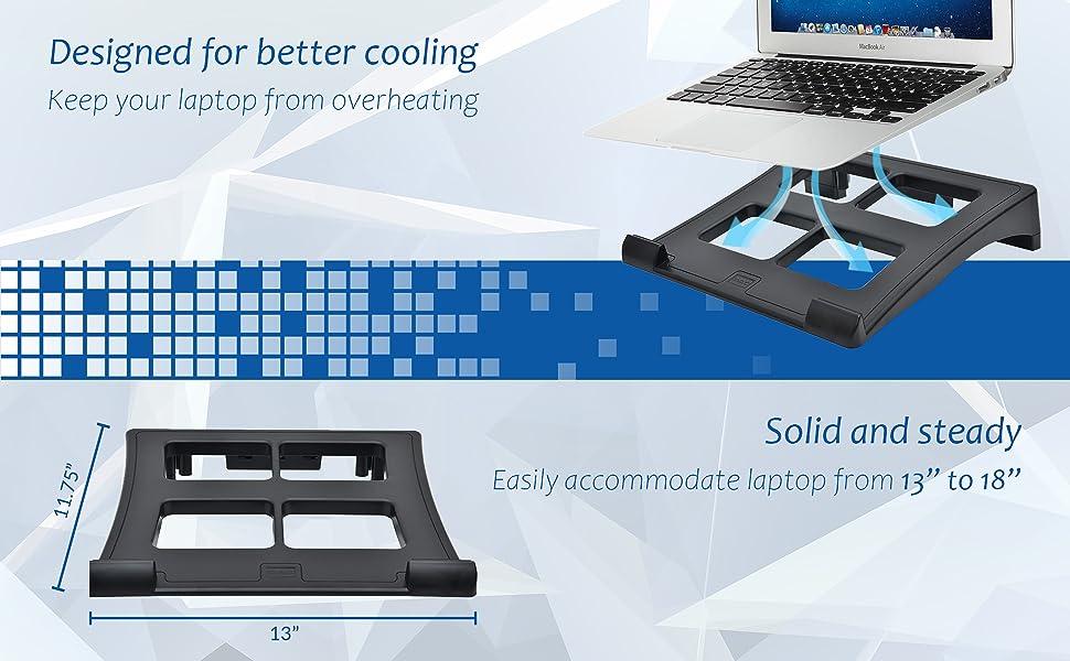 Laptop notebook computer stand riser cooling ventilated desk desktop overheating fan steady DAC