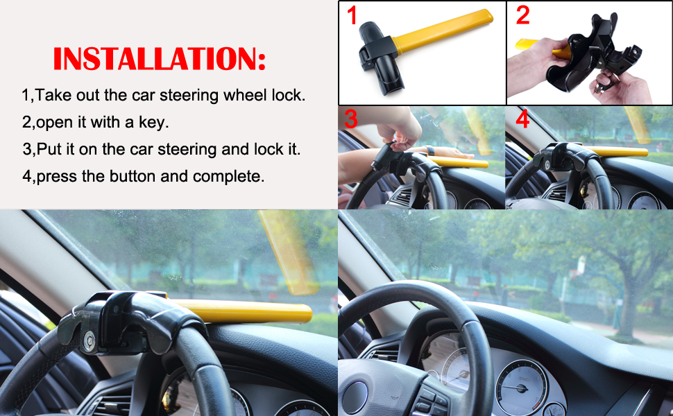 Car Steering Wheel Foldable Anti Theft Security Airbag Lock Safe Devices W// Keys