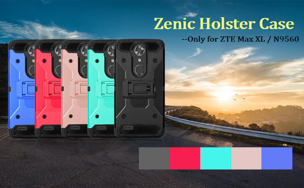 Zenic Compatible with ZTE MAX XL Case, ZTE N9560 Case, Zenic Heavy Duty  Shockproof Hybrid Full-Body Protection Case Cover with Swivel Belt Clip and