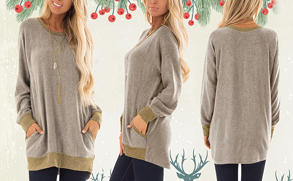 world-palm Ladies Autumn Long Batwing Sleeve Mini Dress Casual o-Neck Pockets Sweaters Mini Dress,Khaki,XL