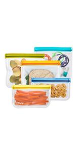 rezip 5-Piece Lay-Flat Reusable Storage Bag Kit (Multi-Color)