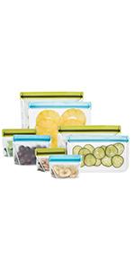 rezip Deluxe 8-piece Resusable Storage Bag Kit (Moss Green/Aqua)