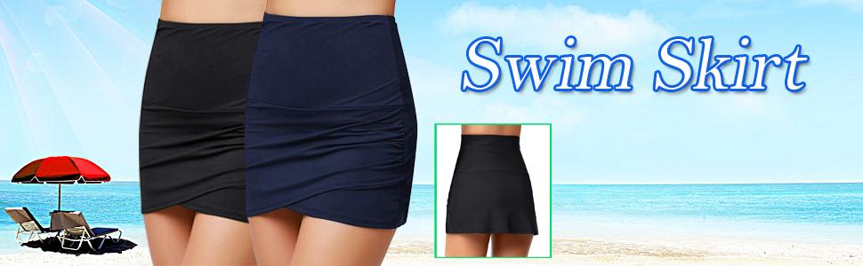 omen Shirred High Waisted Tulip Hem Swim Skirt Ruched Skirted Bikini Swimsuit Bottom Beachwear