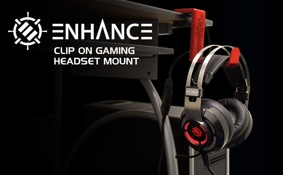 headset hanger with headset on it attached to a desk