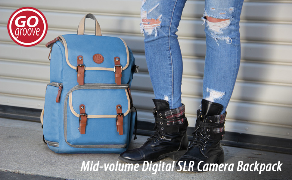 GOgroove Digital SLR Camera Backpack (Mid-Volume) w/Padded Tablet Compartment-fits Many DSLR's