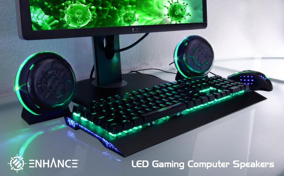 enhance gaming speakers green led computer speaker setup green subwoofer 3.6mm usb
