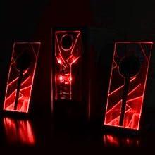 gaming pc computer laptop desktop red led glow lights speakers