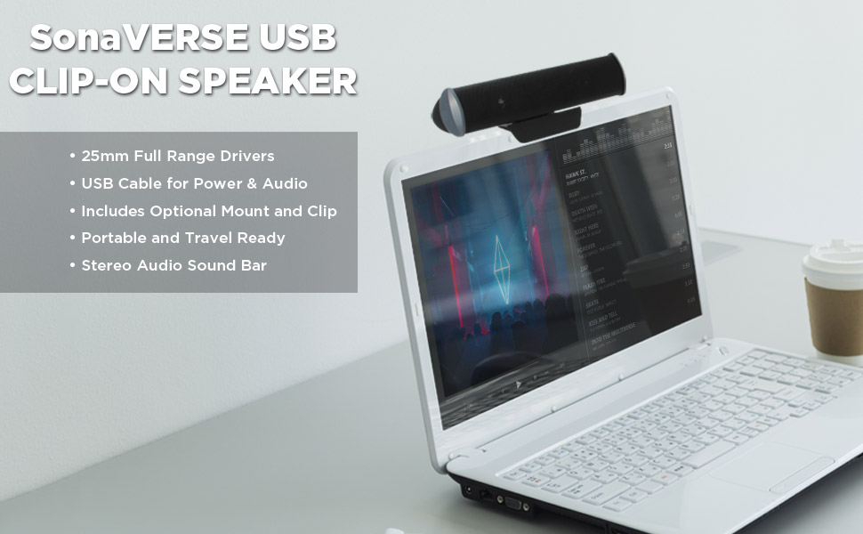 USB Laptop Speaker Bar with 2 High Excursion Drivers /& Clip-On Design