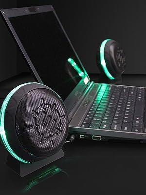 computer speakers powered laptop pc gaming desktop glowing led lights