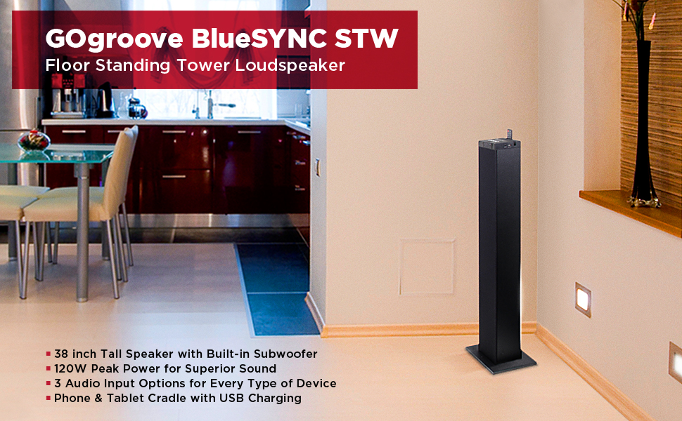 GOgroove BlueSYNC STW Floor Standing Tower Loud Speaker