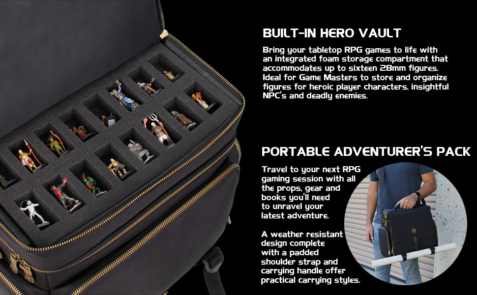 ENHANCE Tabletop RPG Adventurer's Bag - Dungeons & Dragons Travel Bag fits  Player's Handbook , Dungeon Master's Guide & More - Padded Mini Figure