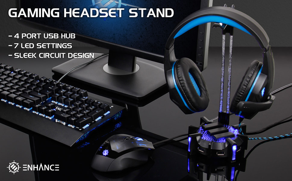 LED Headset stand on gaming desk with keyboard, mouse, and monitor