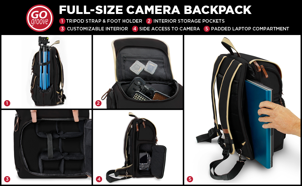 Accessory Storage for Camera and Laptop with 15.6 inch Laptop Space GOgroove Full-Size DSLR Photography Backpack Case Long-Lasting Durability and Weatherproof Rain Cover Tripod Holder Black