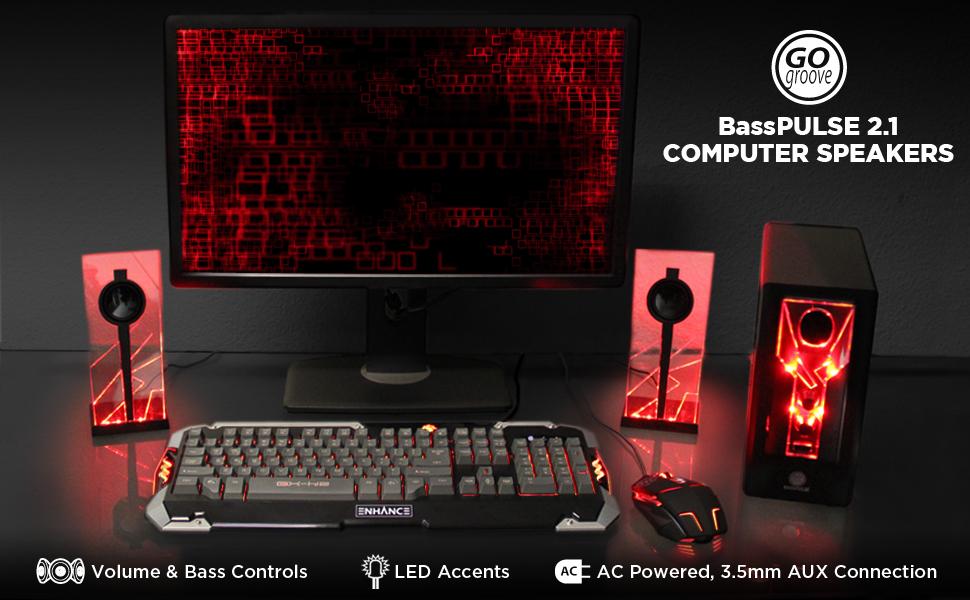 red basspulse gaming computer speakers 2.1 led desktop laptop pc