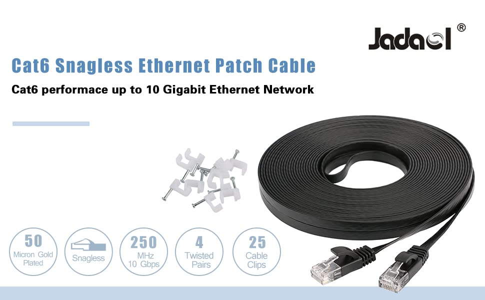 Remarkable Amazon Com Jadaol Cat 6 Flat Ethernet Cable 100 Ft Black With Cable Wiring Database Pengheclesi4X4Andersnl