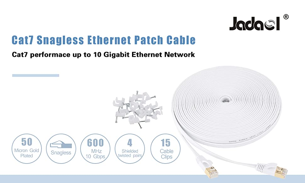 Jadaol Cat 7 Ethernet Cable 50 ft Shielded, Solid Flat Internet Network on