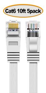 Cat6-10ft-White-5Pack