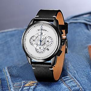 black case white dial