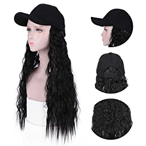 baseball hat wig for women with hair attached