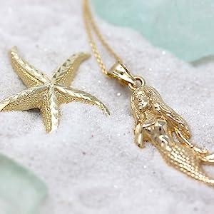 starfish mermaid pendant necklace