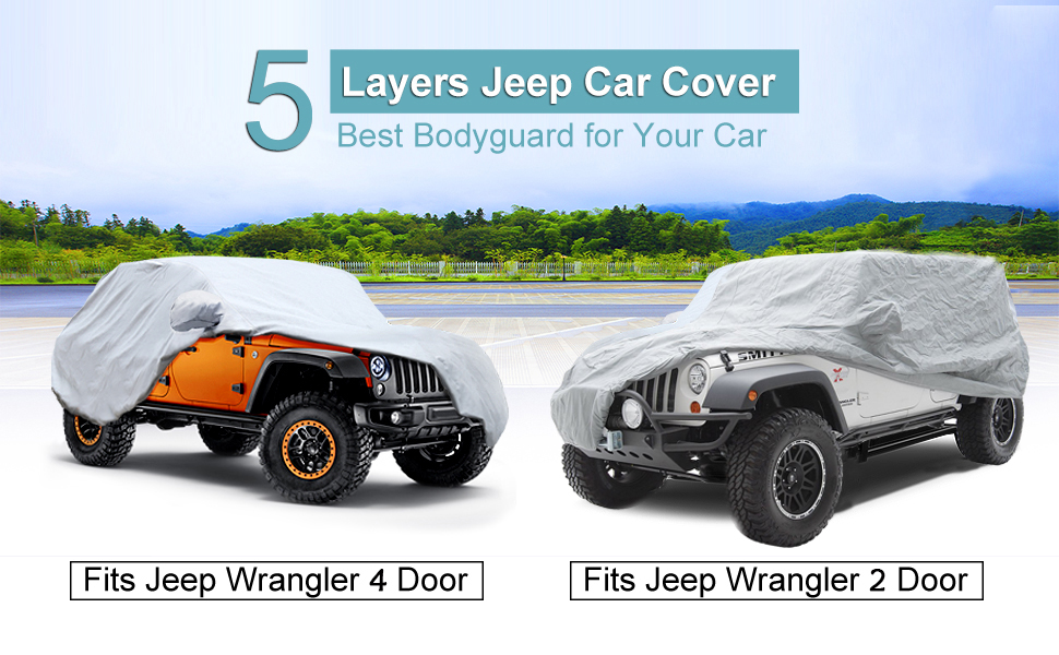 TJ,/& JK 2 Door up to 185 L,Silver Big Ant Car Cover for Jeep Wrangler 2 Door Waterproof SUV Cover All Weather Protection Customer Fit for Jeep Wrangler CJ,YJ