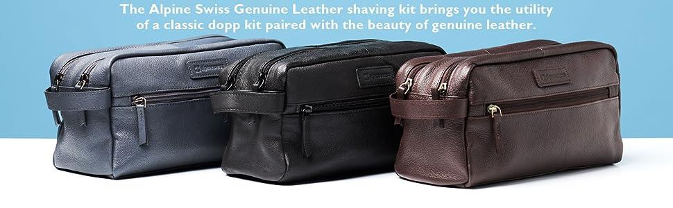 Alpine swiss mens leather dopp kitt shave kit overnight toiletry travel case vanity bag shaving kit