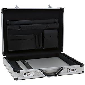 aluminum hard side laptop briefcase portfolio case travel business case silver