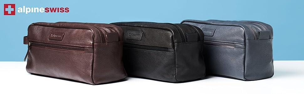 Alpine Swiss shaving kit dopp kit overnight toiletry bag travel case vanity bag leather dopp kit