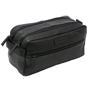 leather shave kit dopp kit overnight cosmetic travel bag vanity toiletry luggage bag