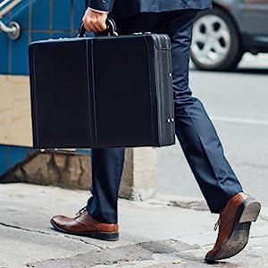 leather briefcase business case hardsided hard side briefcase laptop portfolio work bag professional
