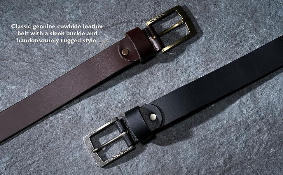 mens leather cowhide 35mm belt alpine swiss