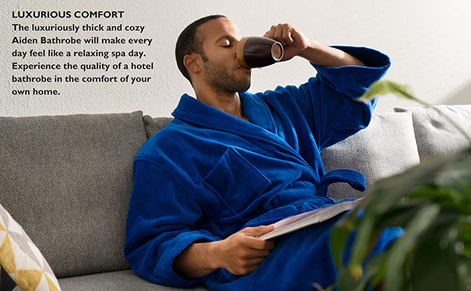 mens bathrobe cotton terry cloth velour robe spa resort hotel quality bathrobe loungewear